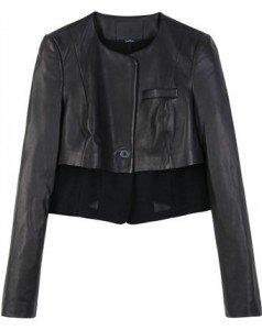 Alexander Wang - Kurze schwarze Lederjacke mit Rundhalsausschnitt und schmalen Ärmeln, Paspel-Brusttasche, schwarzem Besatz aus Meshgewebe sowie einem Knopf vorne. Gesehen bei mytheresa.com, ca. € 1190,-