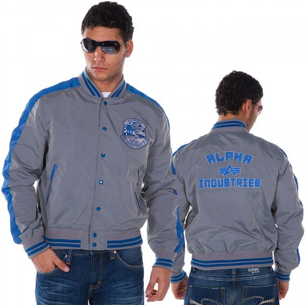 "Bomberjacke des Labels ""Alpha Industries""  Farbe :  silber    Außenmaterial :  100% Nylon Innenmaterial  :  100% Polyester ca. € 90,-"