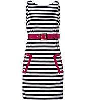 Schwarz/weiß gestreiftes Kleid von Moschino C & C, gesehen online bei Stylebop.com