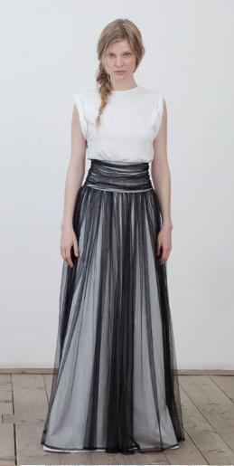 Abendkleid weiß/schwarz