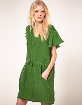 Sommerkleid grün, reine Seide