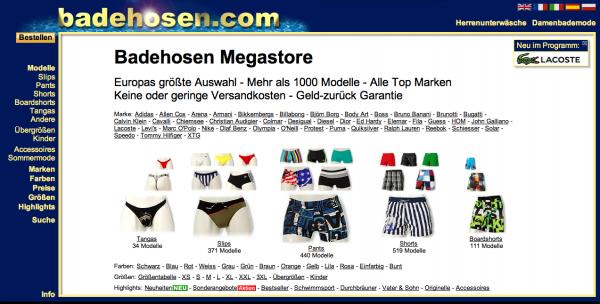 Herren Badehosen online Shop - badehosen.com (Screenshot)