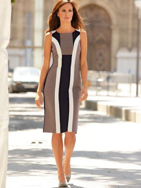 Kleid mit Blenden in beige-weiß-schwarz