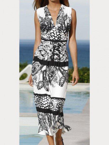 Viscose-Kleid schwarz-weiß