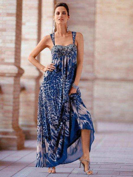 Kleid blau-weiß Print
