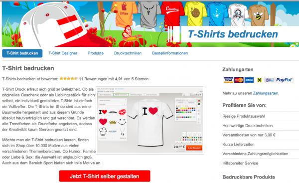 T-Shirts selbst designen - online Konfigurator