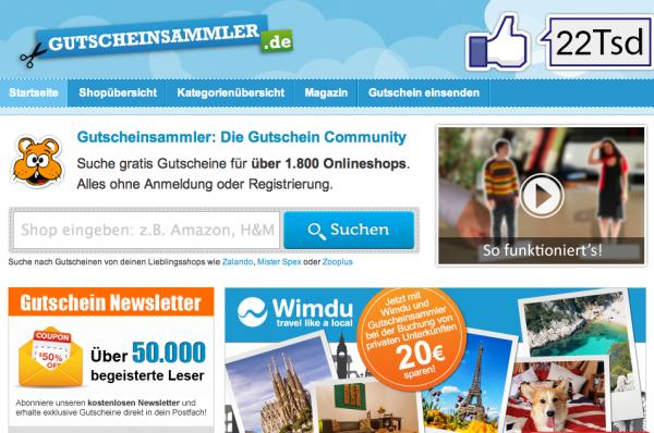 Gutscheinportal Gutscheinsammler.de