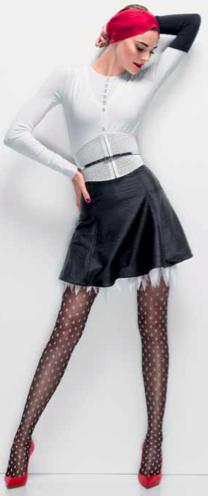 Wolford, Minirock schwarz und weißes Top
