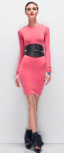 Körpernahes Kleid pink mit schwarzem Gürtel, WOLFORD